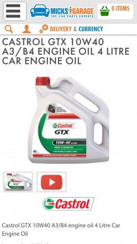 Castrol 10w40oil,   4 litre only £13.22 @ Micks Garage