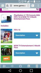 PS4 1TB with Fifa 16 and now tv 3 month pass £299.99 @ GAME