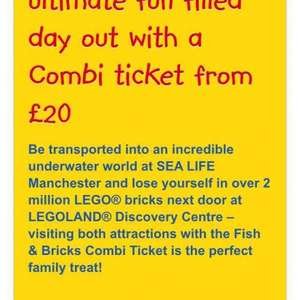 Lego land Manchester & sea life centre combined ticket £20 for 1 adult plus a child aged 2-5 years