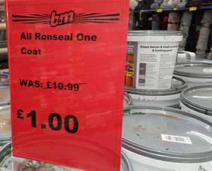 Ronseal One Coat Timbercare 9 Litres now £1 - B&M