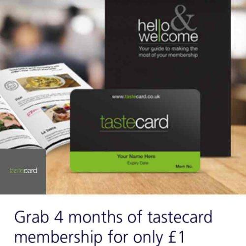4 Months of Tastecard £1 @ O2 Priority
