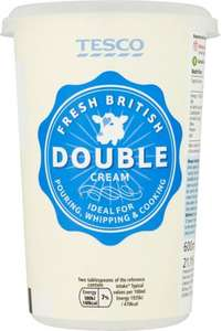 Tesco Fresh British Double Cream (600ml) was £1.60 now £1.00 @ Tesco