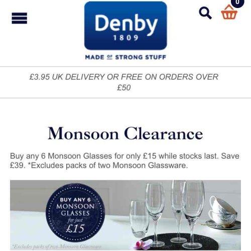 6 Denby Glasses for £15 delivered @ Denby