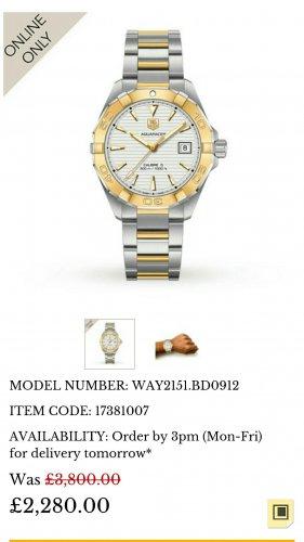 TAG Heuer Aquaracer Mens Watch | Luxury Watches | Watches | £2280 @ Goldsmiths