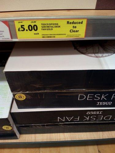 """12"""" Metal Desk Fan Gold £5 @ Tesco instead of £20"""