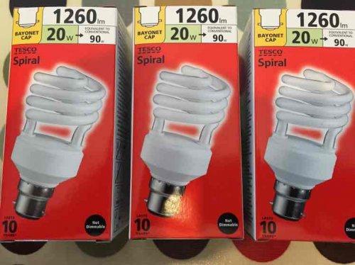 20 Watt (1260 lumen) BC Spiral Energy Saving Bulb £1.13 In store from Tesco Helston (Cornwall)