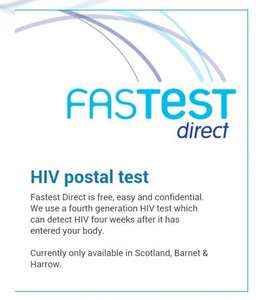 FREE HIV home test. Terrance Higgins Trust/Fastest. Scotland, Barney, Harrow