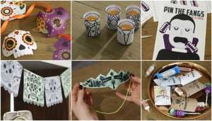 "FREE Halloween printables from Wayfair.co.uk: treat boxes, masks, crowns, ""Pin the Fangs"" game, tealights silhouettes, garlands"