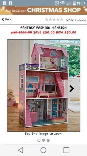 fashion fantasy mansion doll house £50 + £3.99 p&p the brilliant gift shop