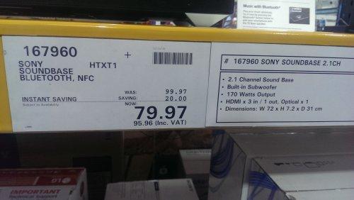 Sony HT-XT1 Soundbase £95.96 @ Costco instore