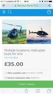 Helicopter Buzz For One Multiple Locations £35 @ Bespoke Offers / intotheblue.co.uk