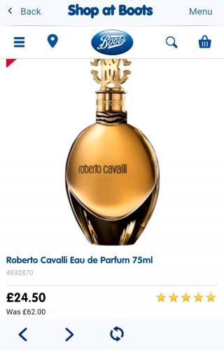 Roberto Cavalli Eau de Parfum 75ml £24.50 @ Boots