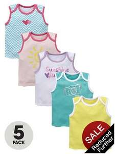 Ladybird Baby Girls Sunshine Smiles Vest (5 Pack) now just £2.70 @ Very free c&c available