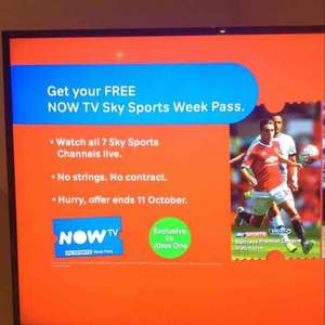 now tv free week Sky sports pass (Xbox one)