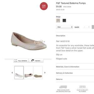 ballerina pumps (f &f tesco clothing) £4 was £9 all sizes available free c+c