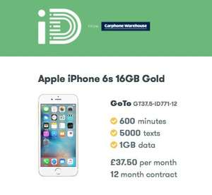 iPhone 6s 64gb on 12m contract £37.50pm (£139.99.99 DEP) 600 minutes, 5000 texts and 1gb of data @ ID Mobile (CPW) £589.99