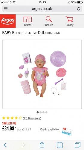 Baby born interactive boy/girl £34.99 @ Argos