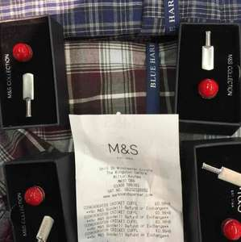 Cricket bat/ball cuff links scanning @ 0.99p M&S Kingston CMK