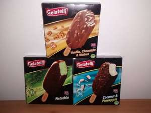3x120 ml Gelatelli Premium Ice Cream choose from (Pistachio/Walnut/Coconut & Pineaple) for £0.74 @ Lidl