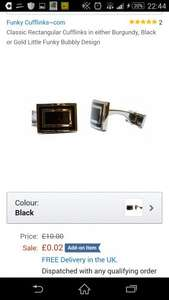 Classic Rectangular Cufflinks in either Burgundy, Black or Gold Little Funky Bubbly Design Amazon - add on item @  0.02p!! Cheapest ever!