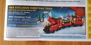 Free Exclusive Lego Christmas Train Set (40138) With Purchases of £50 or More - Starts 22nd October