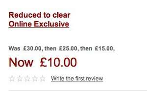 More reductions at John Lewis online.  Lots of dresses/tops/skirts reduced to £10