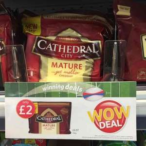 Cathedral Mature Cheddar 350G only £2 a block at londis