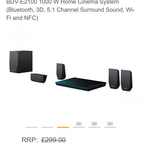 £169.99 Sony BDV-E2100 1000 W Home Cinema System (Bluetooth, 3D, 5.1 Channel Surround Sound, Wi-Fi and NFC) @ Amazon