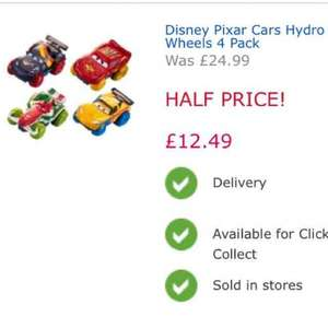 Disney Cars Hydro-Wheels 4 pack £12.49 @ Toys R Us