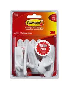 Command Medium Hooks Value Pack (6 hooks 12 strips) £4.79 (prime) £8.78 (non prime) @ Amazon