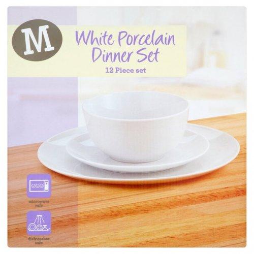 ** White Porcelain Dinner Set - 12 Piece only £5 @ Morrisons **