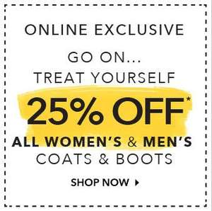 25% off all mens and women's coats and boots at asda