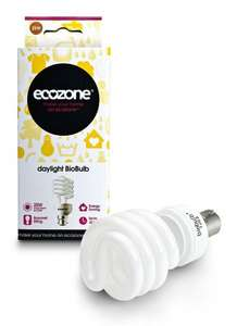 Ecozone Biobulb, Energy-Saving Daylight Bulb, Bayonet Cap B22, 25W . Ideal for suffers of S.A.D [Energy Class A] £4.99 4 for the price of 3 at Amazon