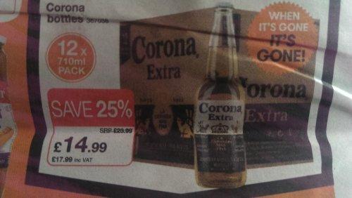 Corona 12 x 710ml £17.99 @ JTF