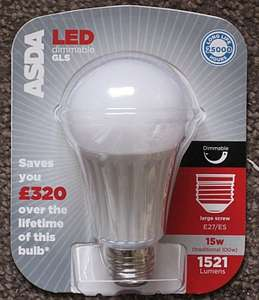 ASDA 15W 1521 lumen LED bulb dimmable bayonet or E27 screw fitting - £8.33