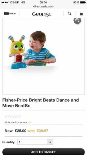 Fisher price beat bo robot £25 at asda