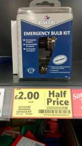 Emergency Car Bulb Bluecol kit £2 @ Tesco instore only