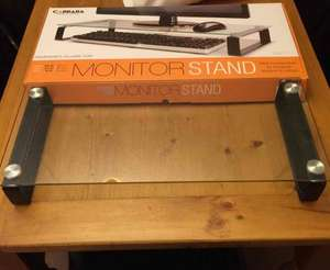 Carrera tempered glass monitor stand. £10.78 inc vat instore @ Costco