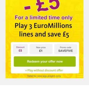 EURO MILLIONS 3 plays for ONLY £1