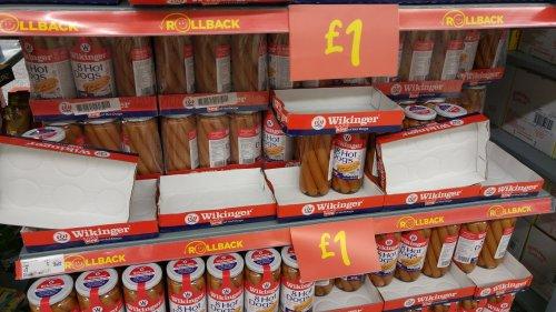 8 Huge Wikinger Hot Dogs Bockwurst Style in Brine 1030g @ Asda £1.00