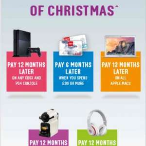 Pay up to 12mths later with Argos card.. Including Xbox one & Ps4 consoles and Apple Macs