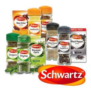 10 Assorted Jars of Schwartz Spices £2.49 in Sainsburys (Pay £16.50, get £6.50 Brand Match voucher and £7.51 cashback)