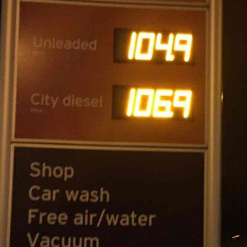 Fuel prices Petrol 104.9p/ltr Diesel 106.9p/ltr @ Sainsburys West Hendon