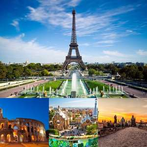 14 nights travelling around Europe visiting Prague, Rome, Barcelona and Paris for £322.30pp (£644.60 for 2) including all flights and hotels @ expedia