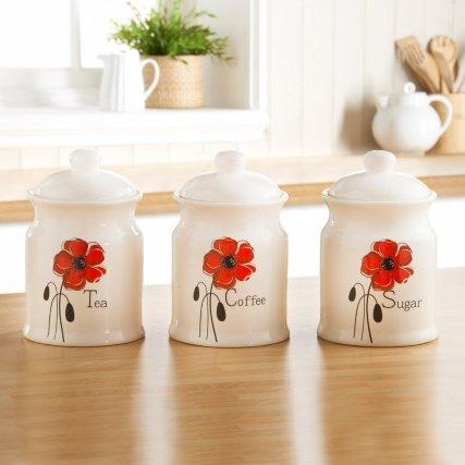 Poppy Tea, Coffee, Sugar Canister set £1.00 @ B&M