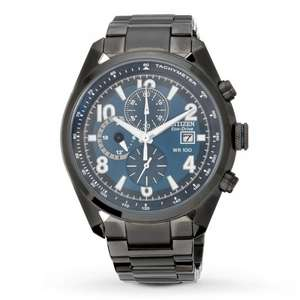 Citizen Eco-Drive Mens' Blue Dial Black Bracelet Watch, £103.99 freec&c at argos
