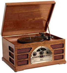 Wooden Retro Turntable 3 Speed AM/FM CD and Tape Player £69.99 @ Amazon  sold by Ebuyer UK Limited