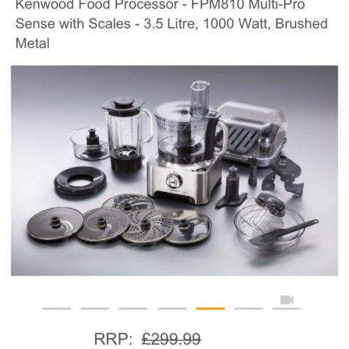 Kenwood Food Processor - FPM810 Multi-Pro Sense with Scales - 3.5 Litre, 1000 Watt, Brushed Metal £149.99 @ Amazon