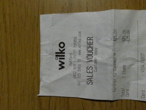 Karcher K2 Compact pressure washer £25 @ wilkos