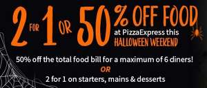 Tastecard Pizza express discount valid this Friday and Saturday for Halloween